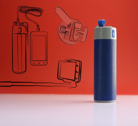 Bluetooth колонка с зарядным устройством и моноподом