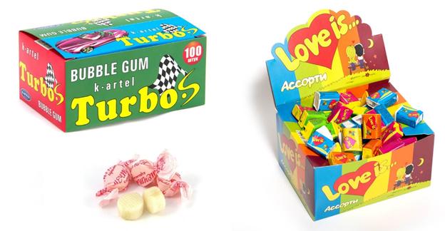 жевательные резинки «Turbo» и «Love is…»